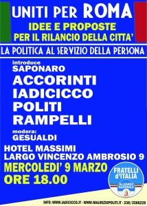 UNITI PER ROMA – Mercoledì 9 marzo ore 18:00 Hotel Massimi